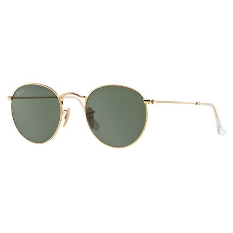 6e4d9f428 Ray-Ban Round Metal RB3447 Unisex Gold Frame Green Classic Lens Sunglasses