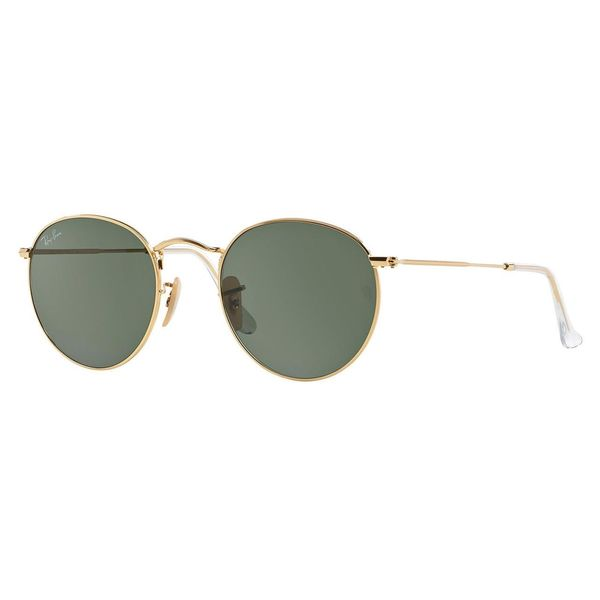 Ray-Ban Round Metal RB3447 Unisex Gold Frame Green Classic Lens Sunglasses