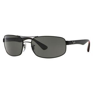 Ray-Ban Men's RB3445 Black Metal Rectangle Polarized Sunglasses