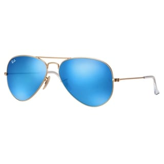 Ray-Ban Aviator RB3025 11217 Unisex  Gold Frame Crystal Blue Mirror Lens Unisex Sunglasses