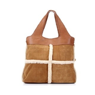 Ugg Australia Quinn Tote Chestnut Brown Genuine Sheepskin Fur Large