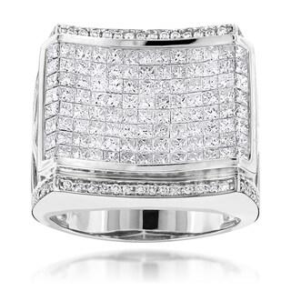 Luxurman 14k White Gold Men's 4 1/3ct TDS Round and Princess-cut Diamond Designer Ring
