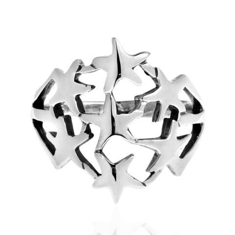 Handmade StarBurst Cluster Bunch .925 Sterling Silver Ring (Thailand)