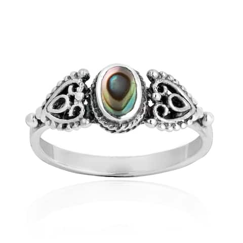 Handmade Love Swirl Filigree Heart Stone .925 Sterling Silver Ring (Thailand)