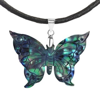 Handmade Butterfly Carved Abalone .925 Sterling Silk Necklace (Thailand)