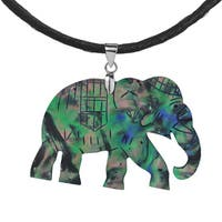 Elephant Handmade Abalone Shell .925 Silver Necklace (Thailand) - Green
