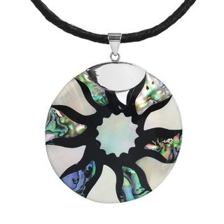 Abalone inlaid Disc.925 Sterling Silver Silk Necklace (Thailand)