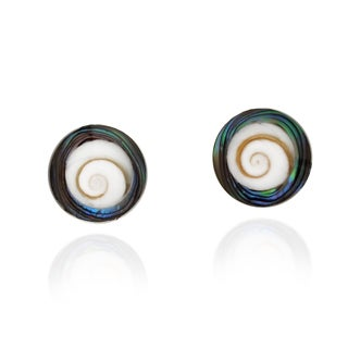 Handmade Abalone Shell Swirl Shiva .925 Silver Post Earrings (Thailand)