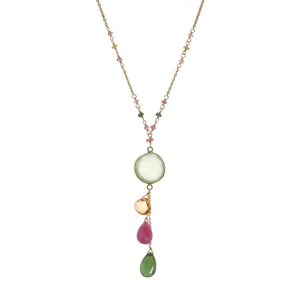 7e1272526abd85 Handmade Chalcedony 18k Gold over Solid .925 Silver Necklace (Thailand)