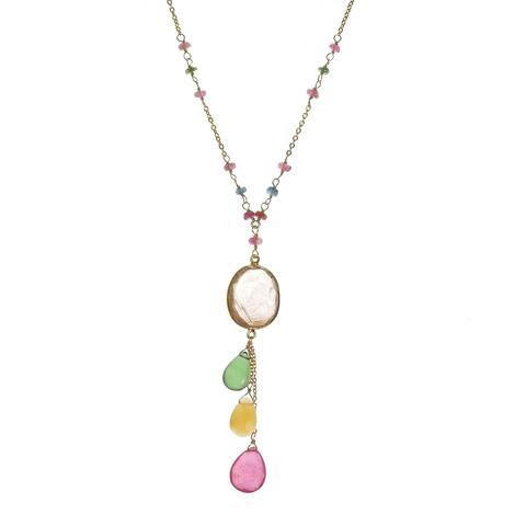 Handmade Quartz Drop Pendant 18k Gold over .925 Silver Necklace (Thailand) - multi
