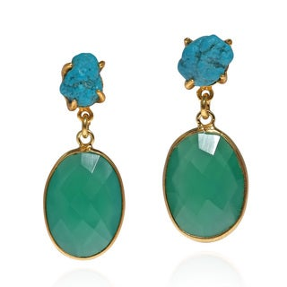 Candy Rock Green Onyx Gold Over .925 Silver Drop Earrings (Thailand)