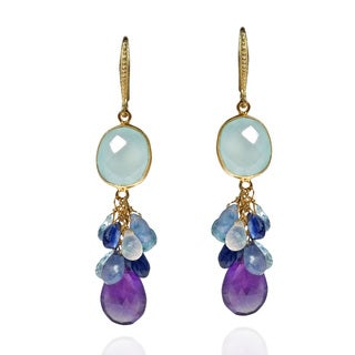 Blue Cocktail Tanzanite Gold over .925 Dangle Earrings (Thailand)