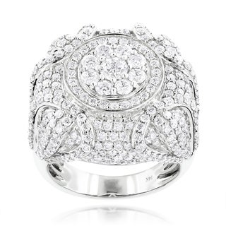 Luxurman 14k White Gold Men's 6 1/2ct TDW Diamond Designer Ring (F-G, VS1-VS2)