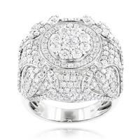 Luxurman 14k White Gold Men's 6 1/2ct TDW Diamond Designer Ring