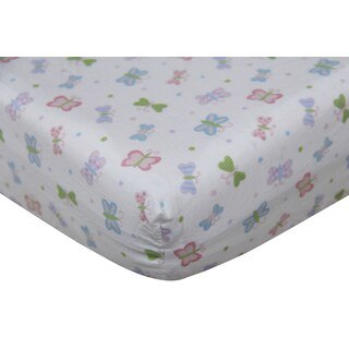 Girls' Butterfly Cotton Fitted Crib Sheet