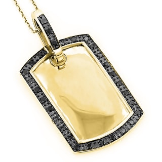 Luxurman 10k Gold 4/5ct TDW Black Diamond Dog Tag Pendant