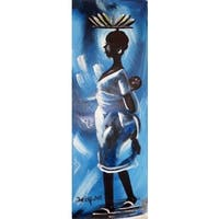 Handmade Young African Village Mother Painting (Ghana)