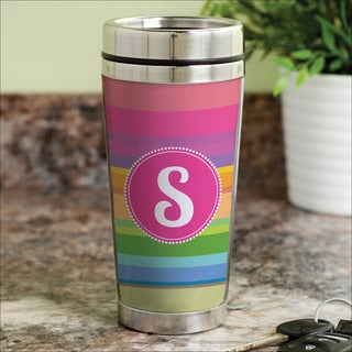 Rainbow Stripes Personalized Travel Mug