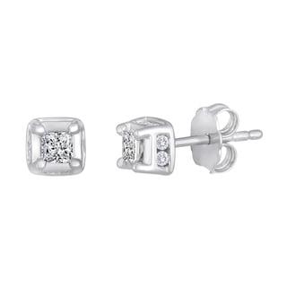 Sterling Silver 2/5ct TDW Princess-cut Diamond Square Stud Earrings (H-I, I2-I3)
