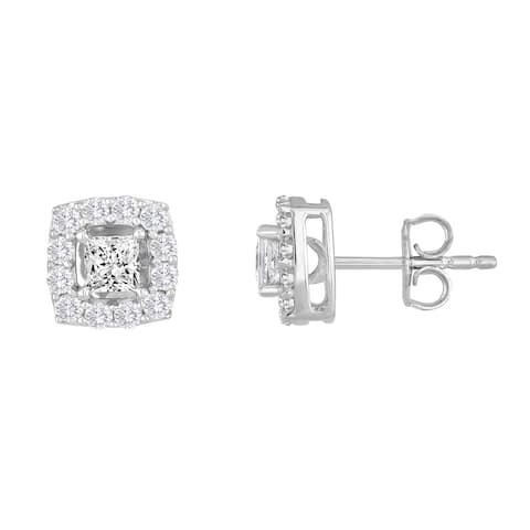 10k White Gold 1ct TDW Princess-cut Diamond Frame Stud Earrings