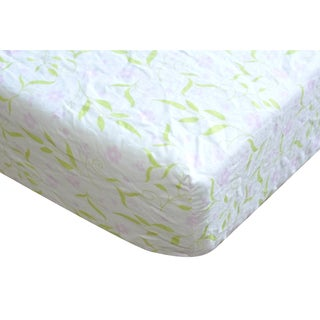 Pink and Green Floral Cotton Fitted Crib Sheet