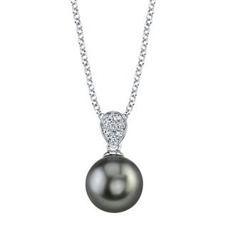 Radiance Pearl Sterling Silver Tahitian South Sea Pearl and Crystal Pendant (8-9mm)