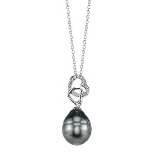 Radiance Pearl Sterling Silver Drop Tahitian South Sea Pearl and Crystal Pendant (10-11mm)