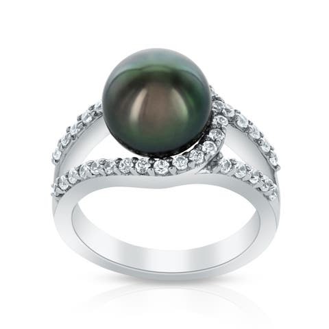 Radiance Pearl Sterling Silver Tahitian South Sea Pearl and Crystal Ring (9-10mm)