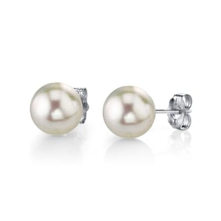 Radiance Pearl 14k Gold 10mm White Freshwater Pearl Stud Earrings (10-11mm)
