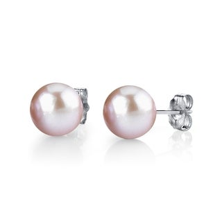 Radiance Pearl 14k Gold 8mm Pink Freshwater Pearl Stud Earrings (8-9mm)