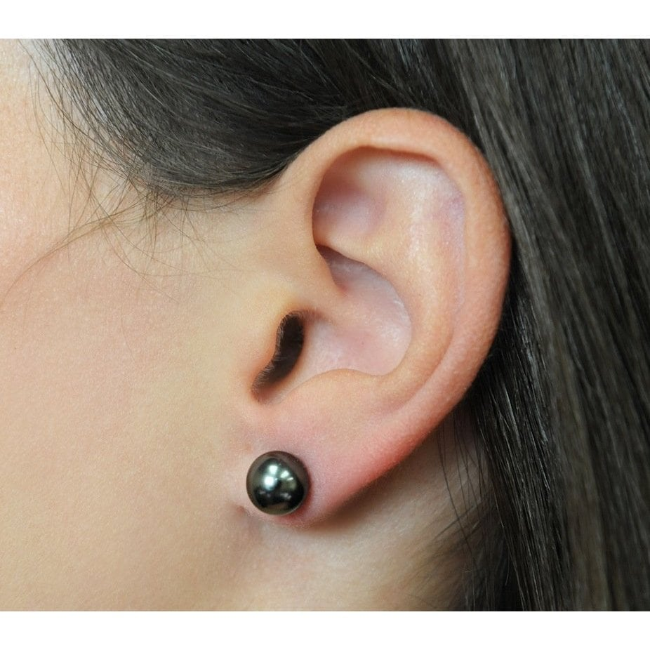 8-9MM Black Cultured South Sea PEARL STUD EARRING 14K GOLD Details about  /a pair of AAA