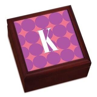Purple Polka Dots Personalized Keepsake Box