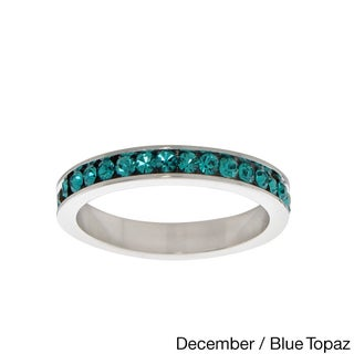 Eternally Haute Rhodium-plated Birthstone Crystal Eternity Band (More options available)