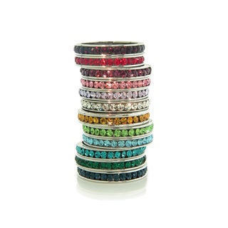 Eternally Haute Rhodium-plated Birthstone Crystal Eternity Band