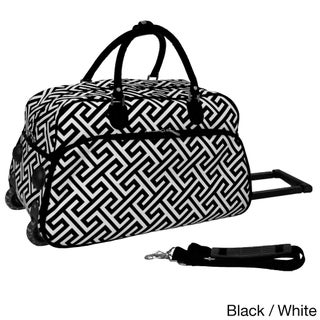 World Traveler Greek Key 21-inch Carry-on Rolling Duffle Bag (3 options available)