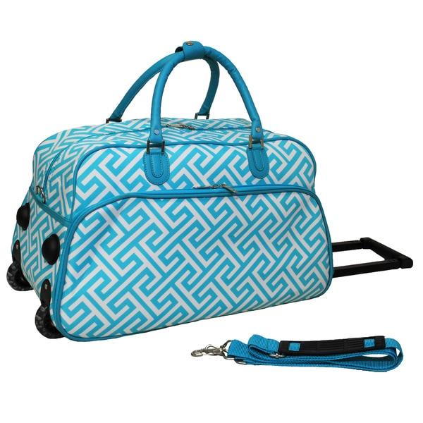 World Traveler Greek Key 21-inch Carry-on Rolling Duffle Bag