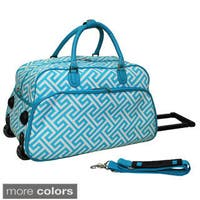 World Traveler Greek Key 21-inch Carry-on Rolling Duffle Bag