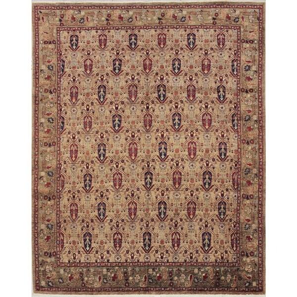 Peshawar Andaruna Tan Hand-knotted Rug (7'10 x 9'7)