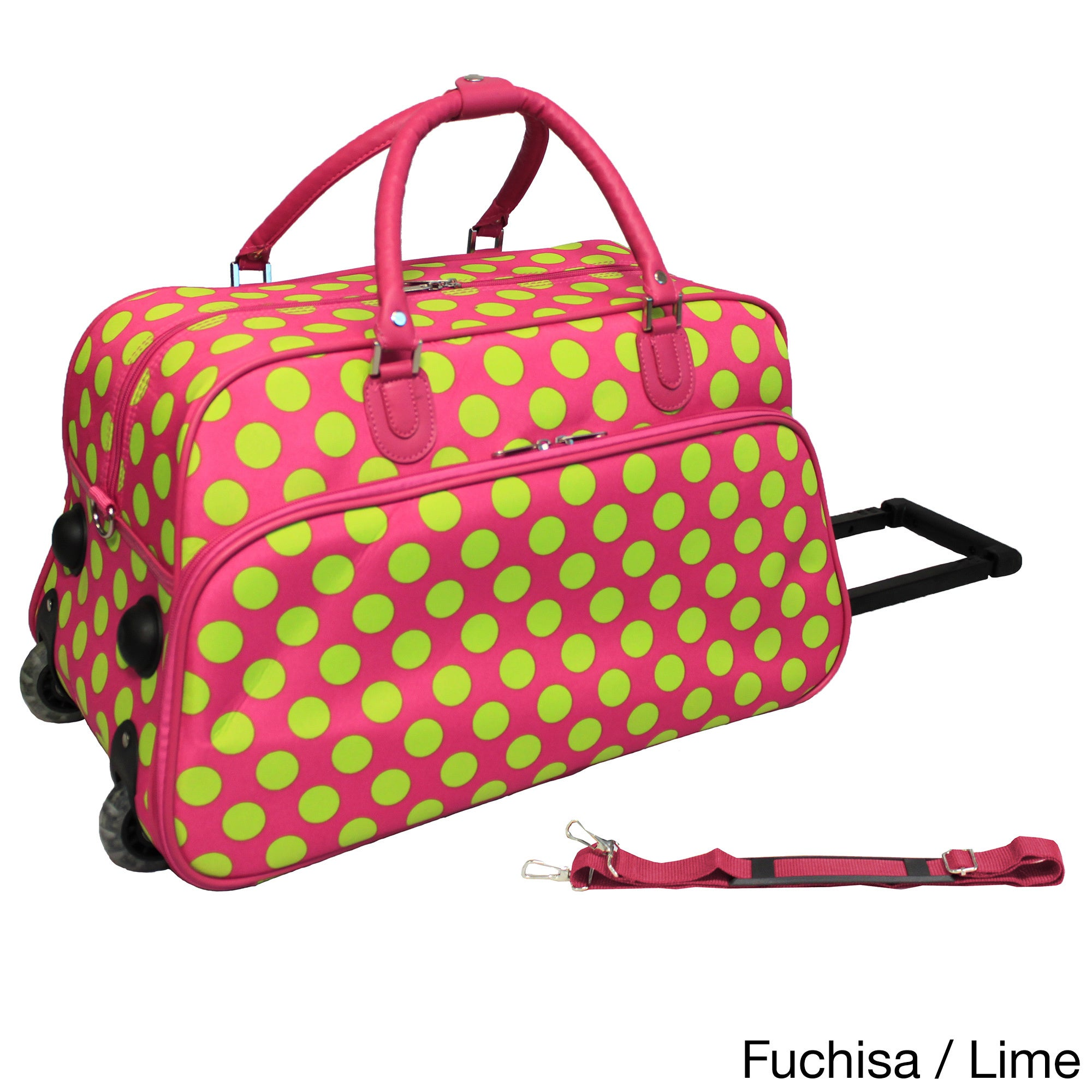 1b54c3ca1863 Details about World Traveler Dots II 21-inch Carry-on Rolling Duffle Bag