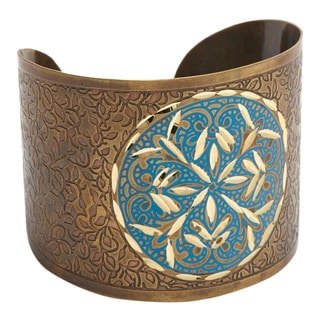 Handmade Bronzed/ Blue Embossed Brass Cuff (India)
