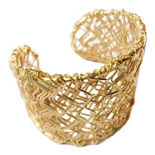 Handmade Scribbles Brass Cuff (India)