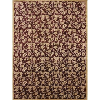 Peshawar Ahmed Aubergine Hand-knotted Rug (9'1 x 12'1)