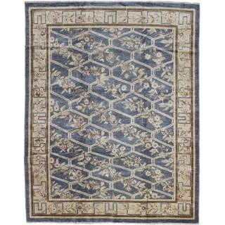 Peshawar Gulshoda Blue Hand-knotted Rug (7'11 x 10'2)