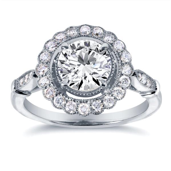 b51a6e0619fda Shop Annello by Kobelli 14k White Gold 1 1/3ct TDW Diamond Floral ...