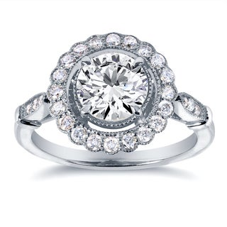 Annello by Kobelli 14k White Gold 1 1/3ct TDW Diamond Floral Antique Engagement Ring