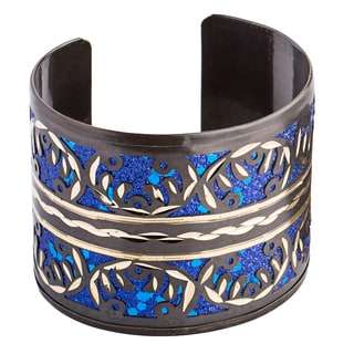 Handmade Bronzed/ Blue Resin Brass Cuff (India)