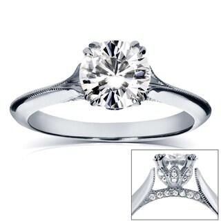 Annello by Kobelli 14k White Gold 1 1/10ct TDW Diamond Milgrain Beaded Knife Edge Ring