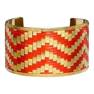 Handmade Gold/ Coral Brass Cuff (India)