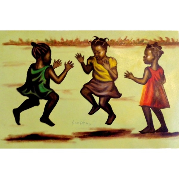Handmade Nana Kojo Children At Play Canvas Art Painting