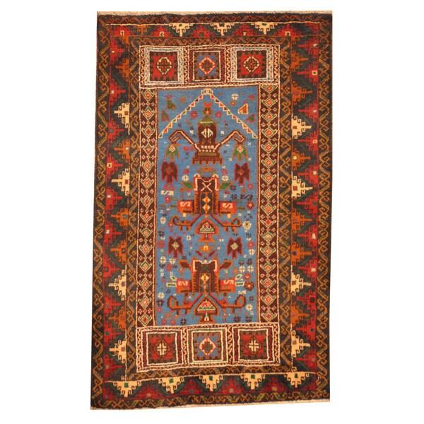Handmade Herat Oriental Afghan Tribal Balouchi Wool Rug - 2'9 x 4'7 (Afghanistan)